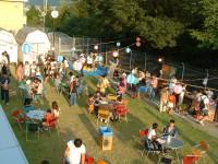 サマーフェスティバルの画像です。芝生の上での屋外食事会です