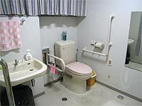 トイレの画像です。様式便器の左右に介助用取っ手があるため利便性が高い設備です。