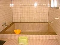 浴室の画像です。風呂自体は安全性を考えて浅く作られています。大きさは約5メートル四方です。